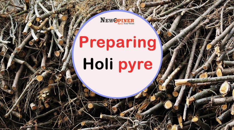 Preparing Holi Pyre