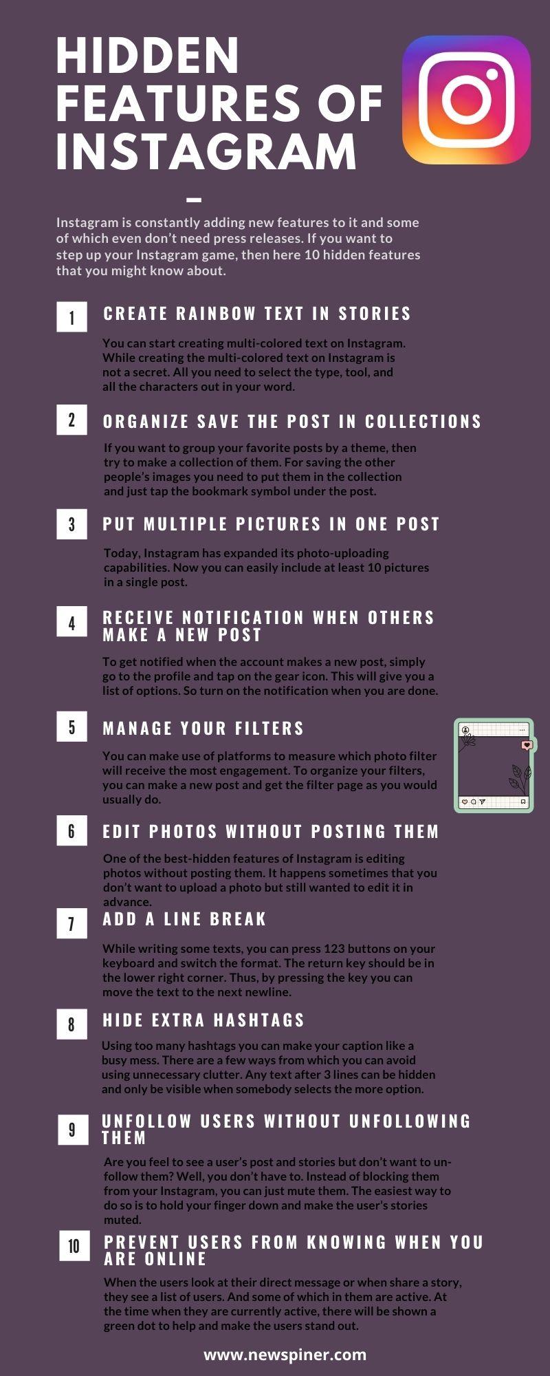 Hidden Features of Instagram