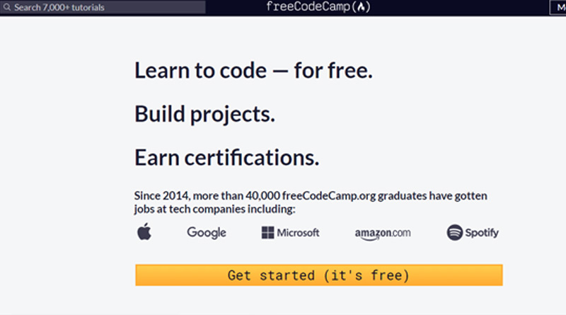 Freecodecamp - free coding learning websites